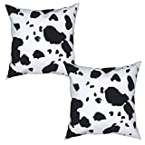 Spotted Cow Throw Pillow Covers, Cow Print Pillow Case, Zippered Pillowcases 18X18 Inch 2 Pack Decorative Pillow Cases, Square Pillow Cases, Camping Pillow Watercolor Pillow Case Covers for Home