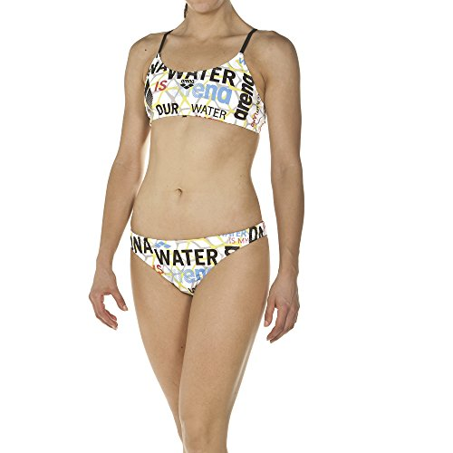 arena Damen Profi Trainings Bikini Evolution (Schnelltrocknend, UV-Schutz UPF 50+, Chlorresistent), White-Black (105), 36