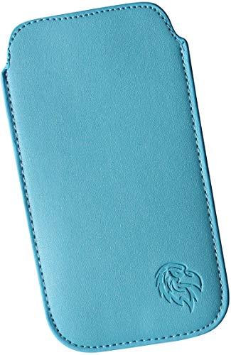 Dealbude24 Schutz Tasche für Sony Xperia XA2 Plus mit Hülle, Hülle Handy herausziehbar, dünnes Etui genäht mit Rausziehband, innen weiches Microfaser mit exklusiv Adler Motiv SXS Hell-Blau