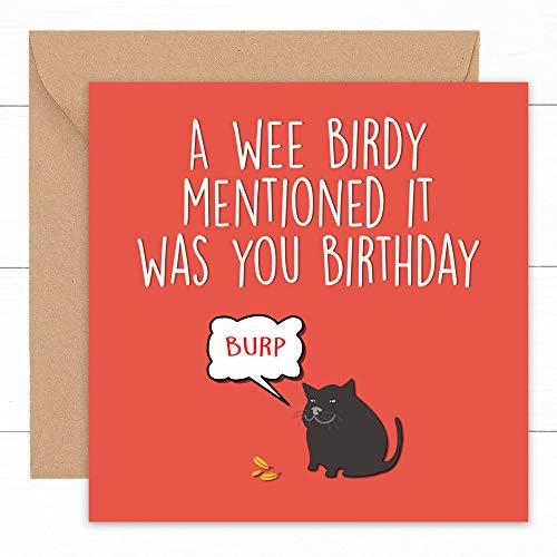 Biglietto di compleanno divertente con gatto | Biglietti per lui il suo fidanzato fidanzato marito...