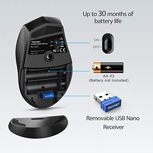 TECKNET Kabellose Maus, Classic 2.4G USB Wireless Mäuse Optischer PC Computer Laptop Maus Mit 30 Monaten Batterielebensdauer, 4800 DPI 6 Anpassungsebenen, 6 Tasten für Windows Mac MacBook Linux