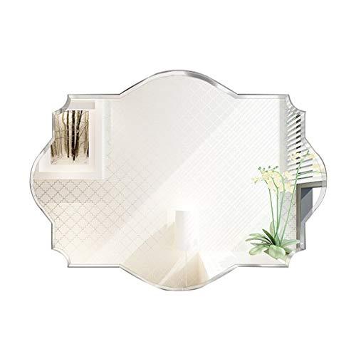 Espejo de Pared Biselado para el Afeitado/Maquillaje Sin Marco Espejo de Cristal de vanidad con Borde Pulido Patrón de Onda único Baño Habitación Sala Sencillo Decorativo