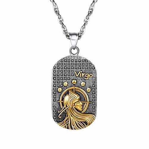 DDDDMMMY Collar,Colgante Collar De Acero Inoxidable De Virgo Constelación Regalo Collar De Saint Marc Cameo Signo Zodiaco para Hombres