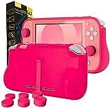 Funda para la Nintendo Switch Lite – Comfort Grip Case, Carcasa Protectora con puños de Mano Rellenos Integrados para la Parte Posterior de la Consola Switch Lite, con Soporte Plegable - Rosa