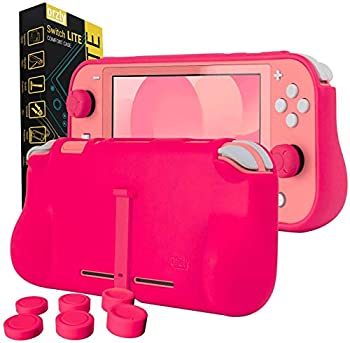Orzly Grip Case Compatible for use with Nintendo Switch Lite – Case with Comfort Padded Hand Grips Kickstand Pack of Thumb Grips - Pink