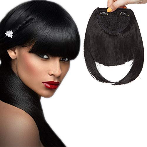 SEGO Frangia Clip Capelli Frangetta Finta Frontale Extension Clips Hair Bang Fascia Unica Corta Fringe Lisci Posticci Donna 30g #1 Nero Scuro