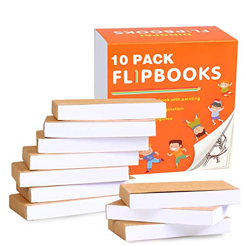 """DINGPAI Blank Flipbooks (Flip Book) 10 Pack for Animation, Sketching, and Cartoon Creation, 4.5"""" x 2.5"""", 160 Pages (80 Sheets), No Bleed Drawing Paper with Sewn Binding, Creative Craft for Kids"""