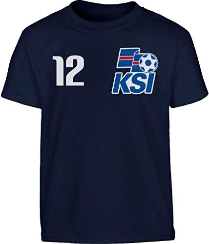 Island Fanartikel - Iceland Kinder Trikot Kleinkind Kinder T-Shirt Jungen 128 Marineblau