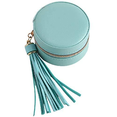 QiKun-Home Caja de Almacenamiento portátil para joyería, Caja de Almacenamiento para joyería, Caja de presentación, Caja Redonda de Cuero PU, Caja de Almacenamiento para Pendientes, Azul 7x7x4.5cm