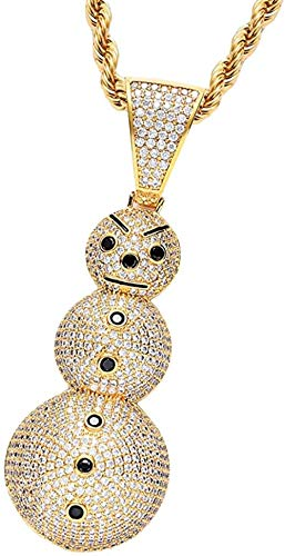 MNMXW Collar de Cadena Chapado en Oro de 18 Quilates de Hip Hop para Hombres y Mujeres - Collar con Colgante de muñeco de Nieve de Disfraz de Rapero de los años 80 y 90