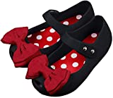 iFANS Girls Princess Mary Jane Cloth Bow Jelly Shoes Flats(Toddler Little Kids) Black, 10 Narrow Toddler