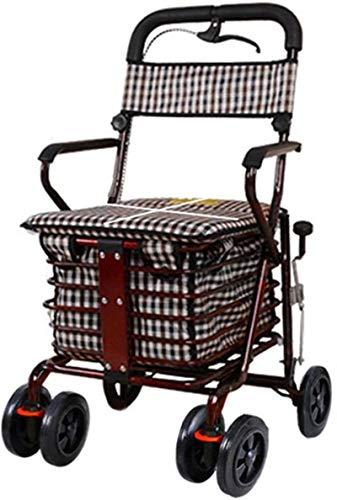 NYDZDM trolley El asiento plegable del carro de la compra de la vespa vieja puede tomar cuatro rondas para ayudar a empujar el carro pequeño