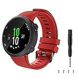 TiMOVO Silikon Armband Kompatibel mit Garmin Forerunner 45 Farbig Replacement Uhrenarmband Sportarmband mit Schnellverschluss für Forerunner 45, Rot