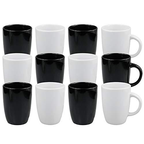 Werbewas Basic, schwarz und weiß, 12er Set - Keramik Kaffeetassen ohne Druck zum bemalen und basteln geeignet - Simple Becher zum Personalisieren - 300ml - Tassen/Becher/Pott für Kaffee, Tee und mehr