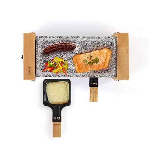 LIVOO DOC218 Appareil à Raclette 2 Personnes | Finition en Bois Véritable, Grill en Granite | Revêtement Anti-adhésif | 350W
