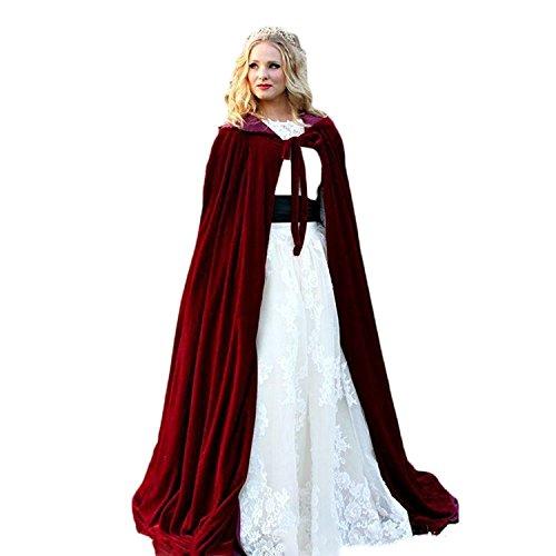 Kengtong Rotwein Umhang mit Kapuze Lange Cape Vampir Kostüm Halloween Hochzeit Braut Mantel (Burgundy, 5XL)