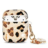 Manleno Compatible with Airpods Case with Heart Keychain Cute Leopard Design Women Girls Soft Protective Case Cover Luxury Glitter Bling Airpod Case Cover for Airpods 2&1