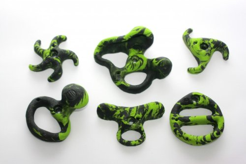 Unbekannt 6 Klettergriffe im Set 'Genuss', Farben:grün-schwarz