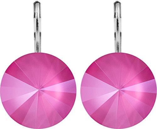 petra kupfer Damen Ohrringe Ohrhänger Rivoli 1 Swarovski®-Kristall 14 mm Pink Peony Pink Versilbert hk14tb-peony-pink