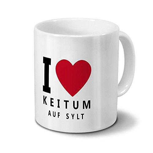 Städtetasse Keitum - auf Sylt - Design I Love Keitum - auf Sylt, Stadt-Tasse, City-Mug, Kaffeetasse - Becher Weiß