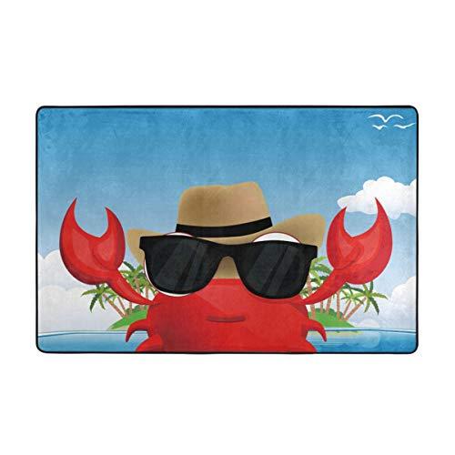 YANAIX Alfombrilla baño, Alfombra de Cocina Puerta Pies Estera Felpudo,Genial crustáceo con Gafas de Sol Negras y un Sombrero de Vacaciones de Verano en la Isla Tropical, 75X45cm