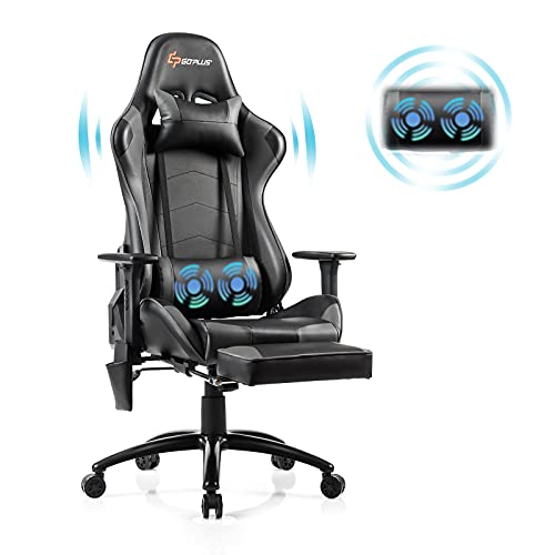 Goplus Massage Gaming Chair, Reclining Backrest, Handrails and Seat Height Adjustment Racing Computer Office Chair, Ergonomic High Back PU Leather Swivel Game Chair with Footrest and Lumbar Cushion