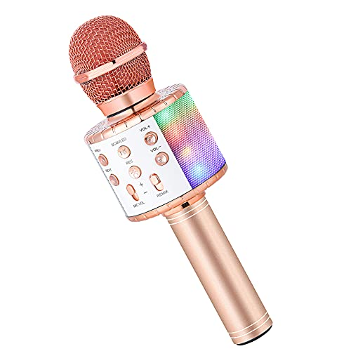 Karaoke Microphone for Kids Singing,Milerong 5 in 1 Wireless Bluetooth Microphone with LED Lights Karaoke Machine Portable Mic Speaker Player Recorder for Home Party Birthday (Pink)