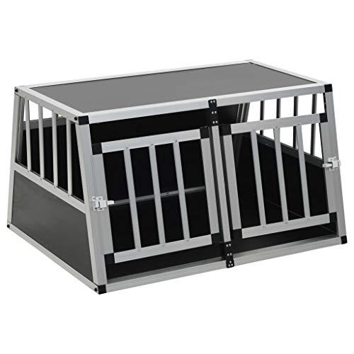 Festnight- Hunde Transportbox für Auto 89 x 69 x 50 cm, mit Doppeltür, Hundebox Autobox Hundetransportbox Alubox Hund Reisebox Silber
