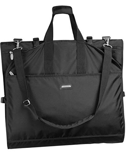 WallyBags Trifold 66' Destination Wedding Carry On Garment Bag for Travel with Multi Pockets & Shoulder Strap, Black