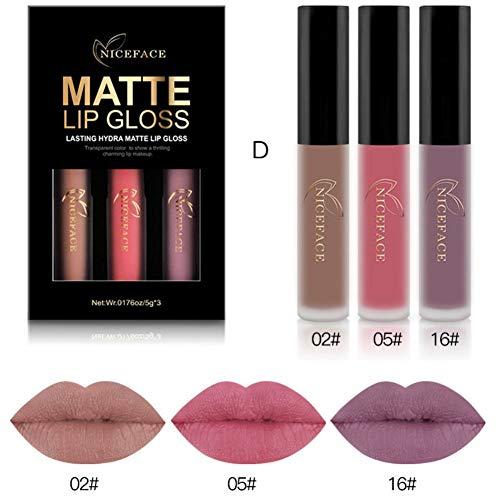 Ofanyia Velvet Matte Lip Gloss 3 Farben Set Langlebig Wasserdicht Matt Lipgloss Flüssiger...