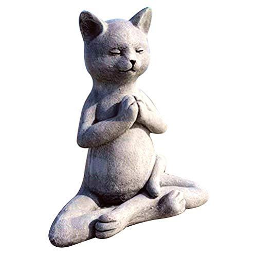 Holmeey Estatua de meditación Estatua de Gato Estatua de Perro Estatua de Yoga Garden Figura Buda Animal Estatua Zen Yoga Pose Relajada Casa Memorial Decoración Decoración