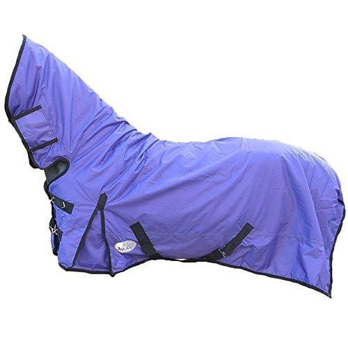 "Best On Horse Boh - Manta impermeable para caballo (200 g, peso medio 600D, cuello fijo, resistente al agua), Ecuestre, morado, UK 6'3 / EU 135cm / 75"""