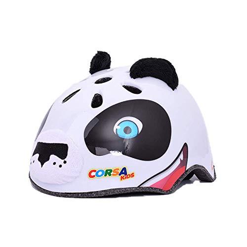 CURVEASSIST Cascos De Protección Infantil para Bicicletas Cascos para Montar Cascos Deportivos Dibujos Animados De Animales Patinaje sobre Ruedas Equipo De Protección Panda,White-M