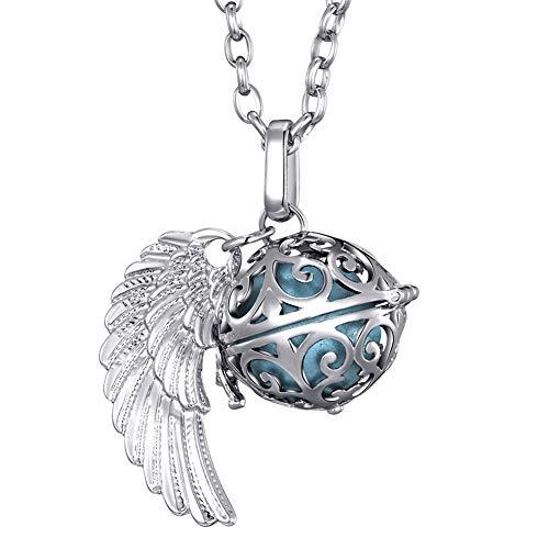 Morella Damen Schutzengel Halskette Edelstahl 70 cm mit Anhänger Engelsflügel und Klangkugel hellblau Ø 16 mm in Schmuckbeutel
