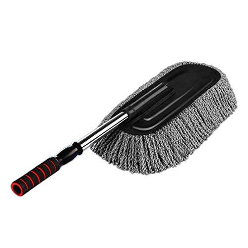 Microfiber Car Duster Exterior Interior Cleaner Cleaning Kit Size 15.7 Inch with Long Retractable Handle to Trap Dust and Pollen for Car Bike RV Boats or Home Use, Grey