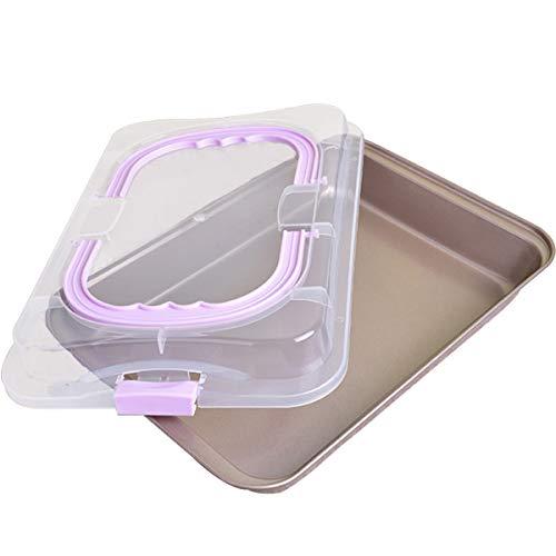 QAQGEAR Transporthaube Kuchen Backform,Backblech, mit Kuchentransportbox mit Antihafteigenschaften,mit 2 Tragehenkeln,42 x 29 x 4 cm,Ofenblech zum Backen, Aufbewahren & Transportieren
