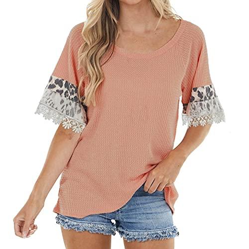 Camiseta Mujer de Color Liso con Costura de Leopardo y Encaje Camisas Manga Corta Suelta Casual Blusas de Cuello en Redondo para Verano Remeras Suave y Ligero Tops de Mujer para Vida Diaria