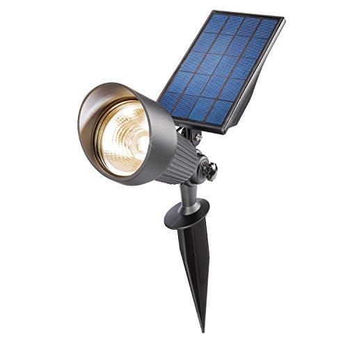 Solar Bodenstrahler Superspot Lichtfarbe warmweiß 2800K + kaltweiß 6500K umschaltbar, 1,8W Solarmodul, maximal 65 lm Lichtleistung, neues automatisches Energiemanagement, Solarstrahler esotec 102546