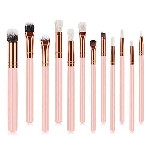 PoplarSun 12pcs Yeux Professionnels Maquillage Pinceaux Poignée Bois Fard à paupières Sourcils Eyeliner Poudre Blending Smudge Brosse (Handle Color : Pink)