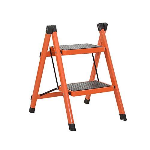 GUOXY Multifunktions-Klapptrittschemel Leiter Für Erwachsene Bügeleisen Küche Klapptrittleiter Mit Anti-Rutsch-Treter,Orange,2 Stufen