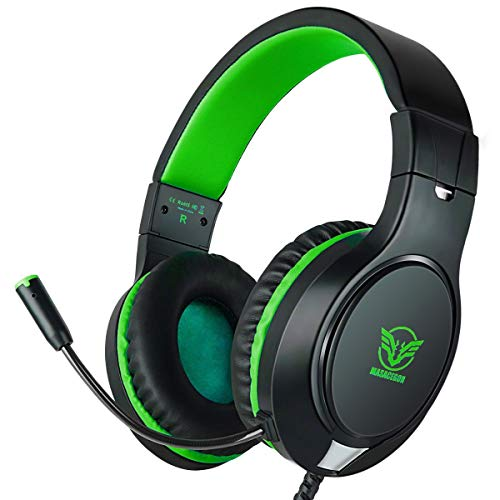 Gaming Headset for Xbox One, PS4, Nintendo Switch, ifmeyasi Stereo Bass Surround 3.5mm Headsets, Over-Ear Headphones with Noise Cancelling Micophone for Laptop PC Mac iPad Smartphones (Green) Headsets
