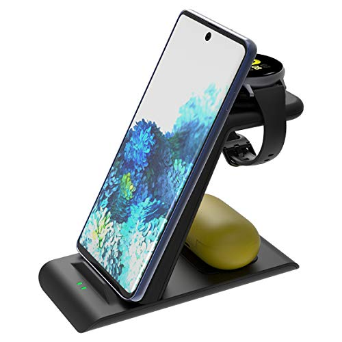 Elobeth Qi Wireless Charger Station Compatible with Samsung Wireless Charging Stand Galaxy Watch 3 41mm/45mm/42mm/46mm/Active 2/1 Gear S3 Galaxy S21/S20/S10/Note 20/10/9/8/Z Flip Buds Live No Plug