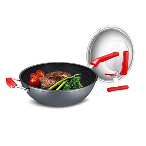 Wok Wok E Stir Fry Pans Domestica Casseruola Leggero Wok Non Patinata Non Grassa Fumi Wok (Color : Gray, Size : 32cm)