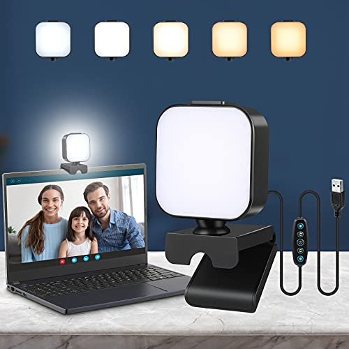 UNILLKING Video Conference Lighting Kit, Clip on Light for Laptop Zoom Light for Computer with 5 Dimmable Color & 6 Brightness Level, Magnetic Video Lights for Remote Working/Live Streaming