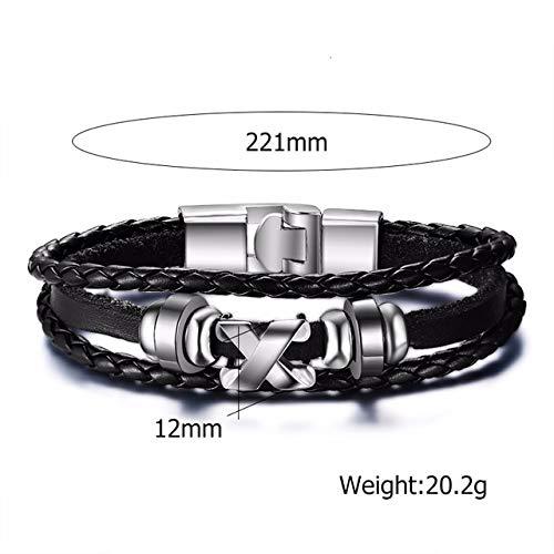 NRJZSS Herren Damen Geflochtenes Lederarmband Love Infinity Charm Stulpearmband Fit 7,67 ZollBL-050