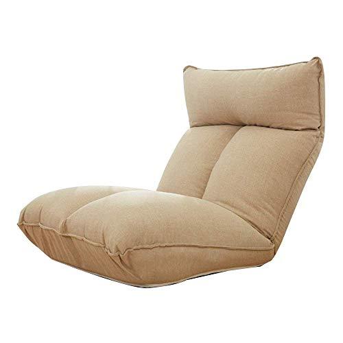 DX Bodenstuhl Klappbarer Meditationsstuhl mit Rückenlehne Lazy Lounge Sofa Abnehmbar und waschbar 5 Gänge Frei Verstellbarer Einzelbodenstuhl Khaki