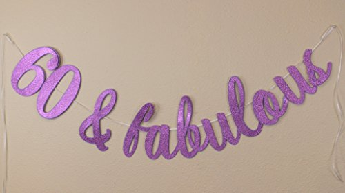 All About Details 60 & Fabulous Cursive Banner, 60th Birthday, Party Banner, Party Decor, Photo Backdrop, 1set (Purple)