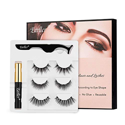 EARLLER Magnetic Eyelashes with Eyeliner Kit, 3 Pairs Natural Look Magnetic Full Eye Lashes with Applicator - Waterproof, Easy to Apply and No Glue Needed Eyelashes Set