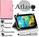 Navitech Pink 360 Rotational Case Cover Compatible with The Vuru A33 7-Inch 8GB Tablet