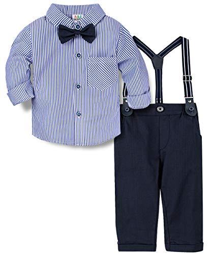 A&J DESIGN Baby Jungen Bekleidungssets Baumwolle Langarm Hemd+Hose+Hosenträger+Fliege Krawatte Gentleman Anzug Festliche Suit für Hochzeit Party Herbst (Blau, 12-18 Monate)